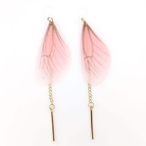 Butterfly Wing Earrings (Dangles) - pink and gold