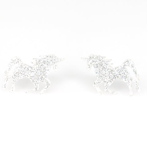 Glitter Majestic Unicorn Earrings (Studs) - silver