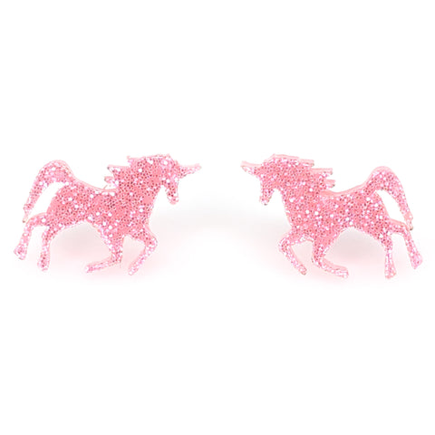 Glitter Majestic Unicorn Earrings (Studs) - light pink