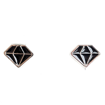 Monochrome Diamond Earrings (Studs) - black