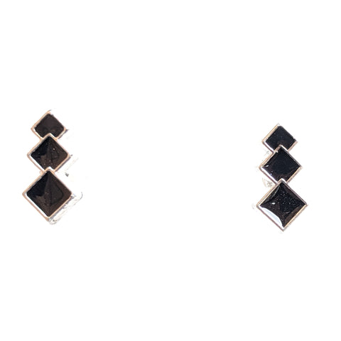 Monochrome Stacked Diamond Earrings