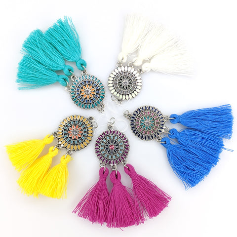 Bohemian Sun Tassels Earrings (Dangles) - various colors