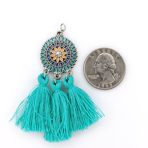 Bohemian Sun Tassels Earrings (Dangles) - size comparison quarter