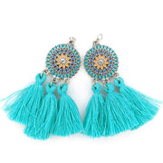 Bohemian Sun Tassels Earrings (Dangles) - turquoise