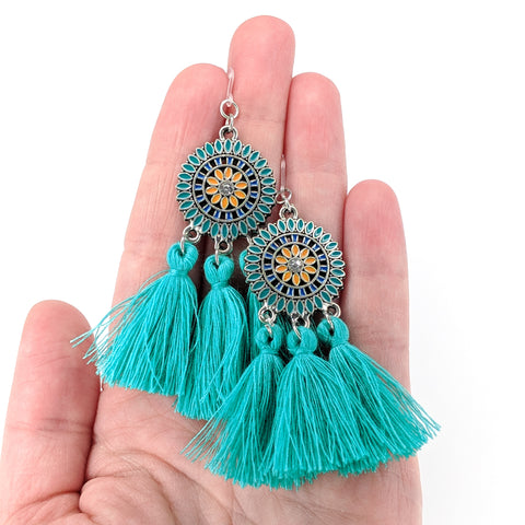 Bohemian Sun Tassels Earrings (Dangles) - size comparison hand