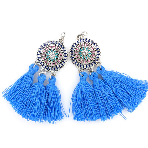 Bohemian Sun Tassels Earrings (Dangles) - royal blue