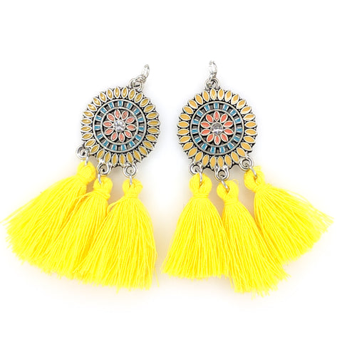 Bohemian Sun Tassels Earrings (Dangles) - yellow