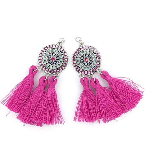 Bohemian Sun Tassels Earrings (Dangles) - pink