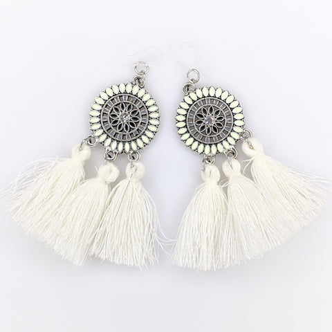 Bohemian Sun Tassels Earrings (Dangles) - white