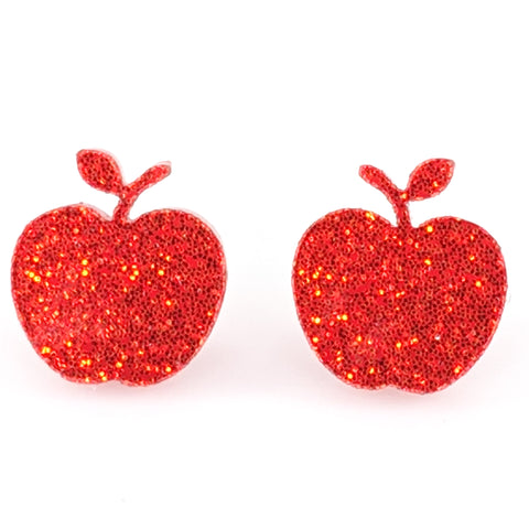 Glitter Apple Earrings