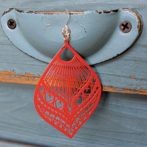 Large Peacock Earrings (Dangles) - orange red