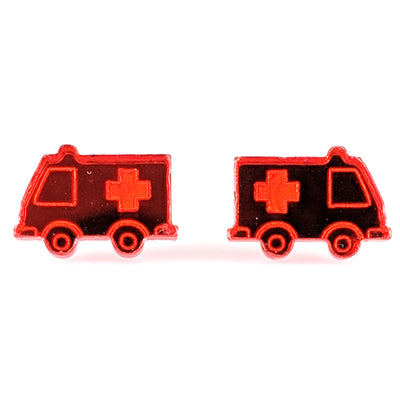 Mirrored Ambulance Earrings (Studs) - mirror red