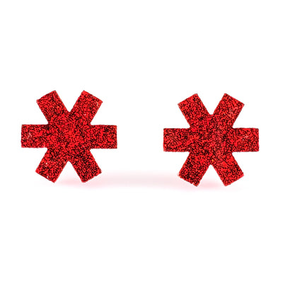 Star of Life Earrings (Studs) - red