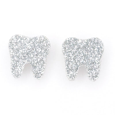 Glitter Tooth Earrings (Studs) - silver glitter