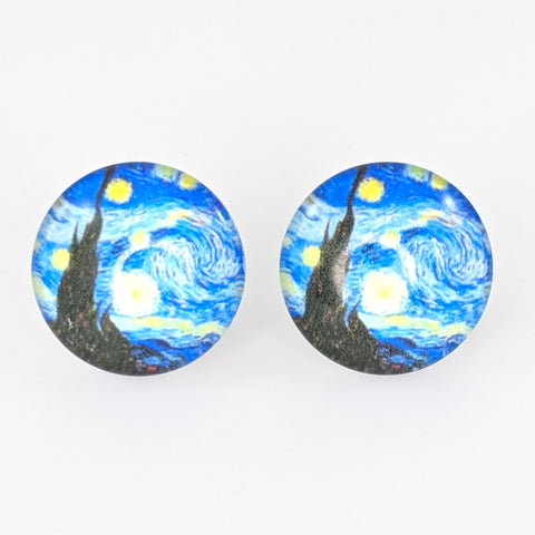 Glass Starry Night Button Earrings (Studs) - multi-colored
