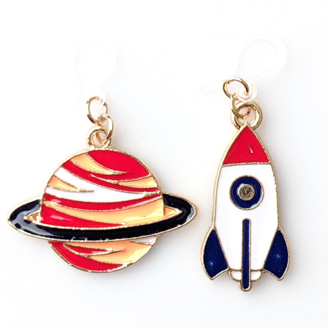 Rocket & Planet Earrings (Dangles) - various colors