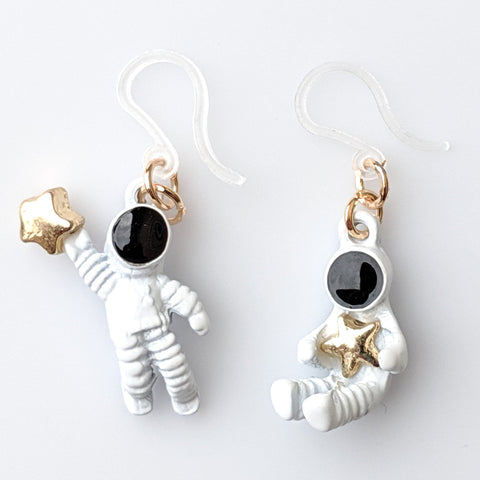 Astronaut Star Earrings (Dangles) - white, black, and gold