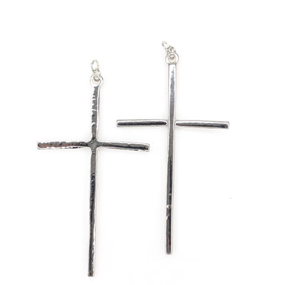 Large Cross Earrings (Dangles) - silver