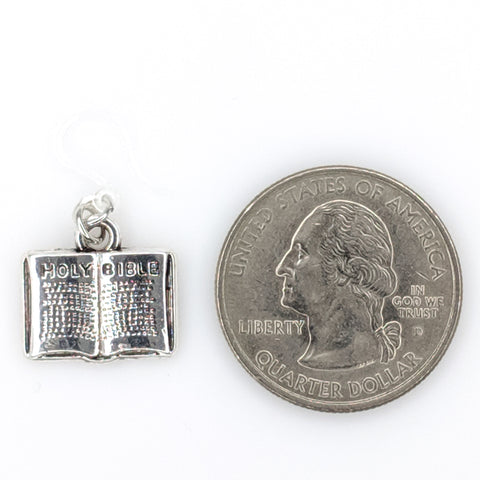 Bible Earrings (Dangles) - size comparison quarter