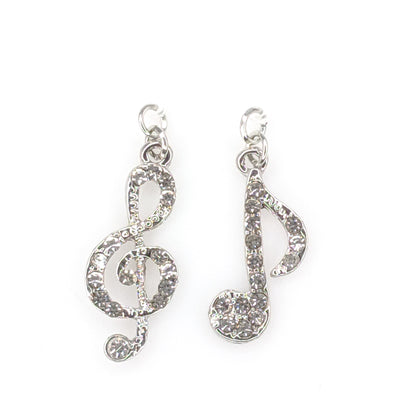 Rhinestone Music Earrings (Dangles) - silver