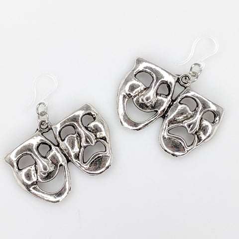 Comedy and Tragedy Earrings (Dangles) - silver