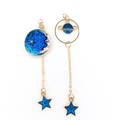 Blue Planet and Moon Earrings (Dangles) - gold and blue