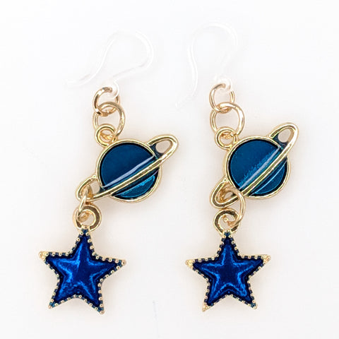 Blue Planet and Star Earrings (Dangles) - gold and blue