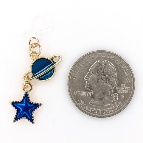 Blue Planet and Star Earrings (Dangles) - size comparison quarter