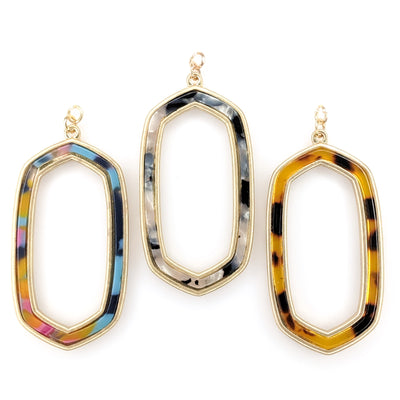 Celluloid Picture Frame Earrings (Dangles) - various colors