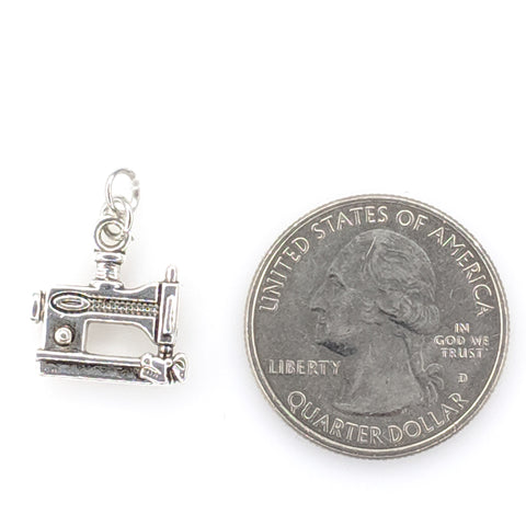 Silver Sewing Machine Earrings (Dangles) - size comparison quarter