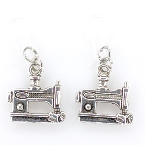 Silver Sewing Machine Earrings (Dangles)