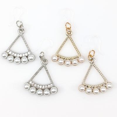 Pearl Triangle Earrings (Dangles) - all colors