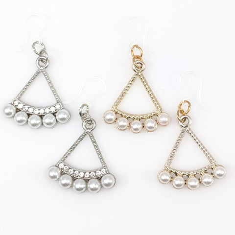 Pearl Triangle Earrings