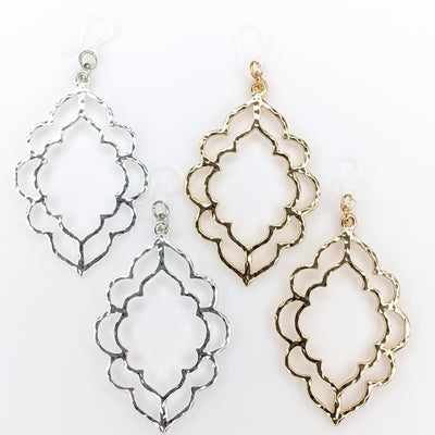 Metallic Scallop Earrings (Dangles) - silver and gold