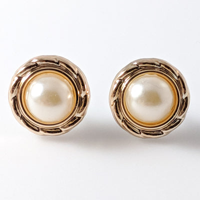 Gold Rimmed Pearl Earrings (Studs) - gold pearls