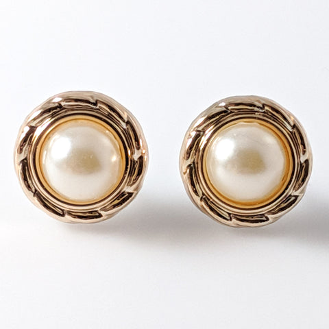 Gold Rimmed Pearl Earrings