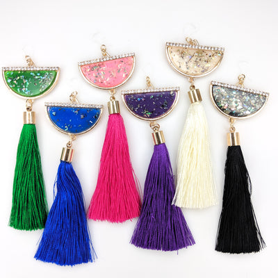 Semi-Cirlce Fleck Tassel Earrings (Dangles) - all colors