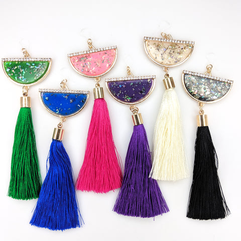 Semi-Cirlce Fleck Tassel Earrings