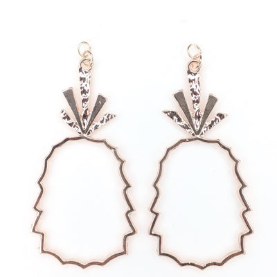 Rose Gold Pineapple Earrings (Dangles) - rose gold