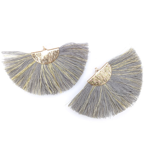 FANtastic Tassel Earrings (Dangles) - gray