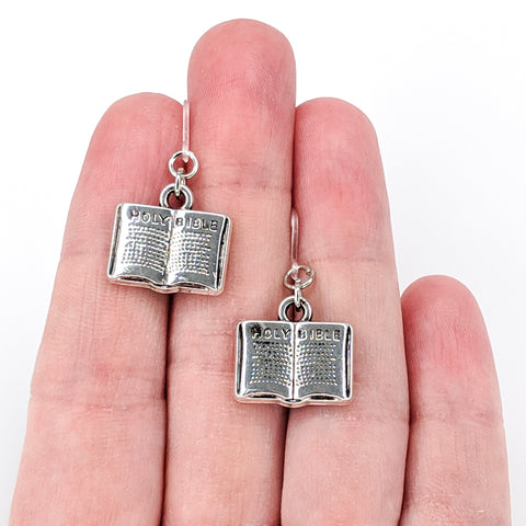 Bible Earrings (Dangles) - size comparison hand