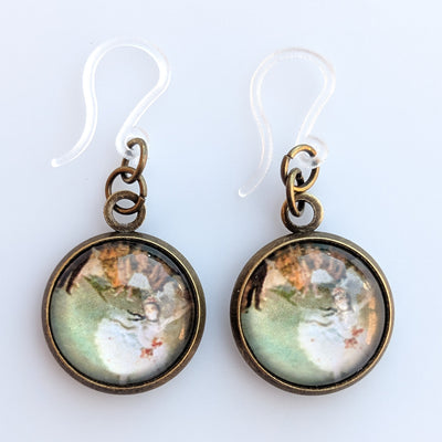 Glass Degas Dancer Earrings (Dangles) - multi-colored