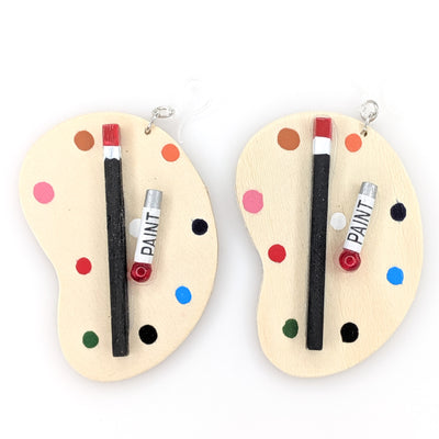 Exaggerated Wooden Paint Palette Earrings (Dangles)