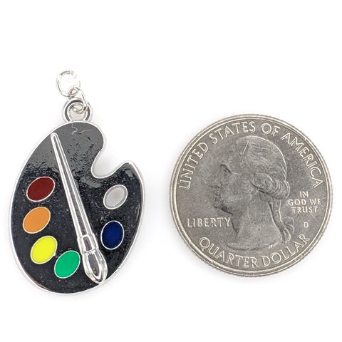 Silver Paint Palette Earrings (Dangles) - size comparison quarter
