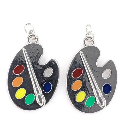 Silver Paint Palette Earrings (Dangles) - silver and rainbow color paints
