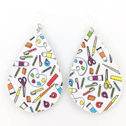 Art Supplies Teardrop Earrings