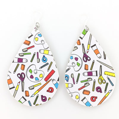 Art Supplies Earrings (Teardrop Dangles) - multi colored