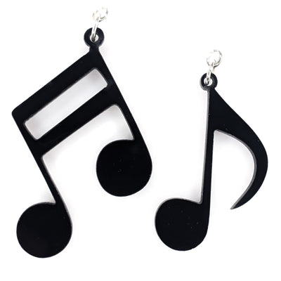 Exaggerated Music Note Earrings (Dangles) - black