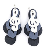 Exaggerated Treble Clef Earrings (Dangles) - black, grey, white stacked