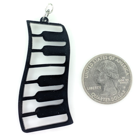 Exaggerated Piano Earrings (Dangles) - size comparison quarter